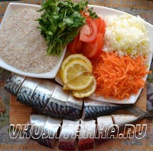 Скумбрия на пару с рисом в мультиварке, приготовление, шаг 1