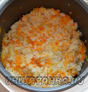 Скумбрия на пару с рисом в мультиварке, приготовление, шаг 5