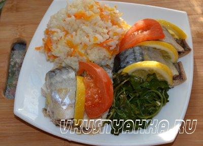 Скумбрия на пару с рисом в мультиварке, приготовление, шаг 6