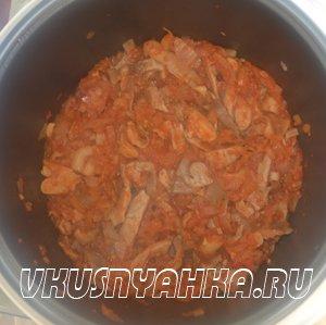 Вешенки с томатом в мультиварке, приготовление, шаг 3