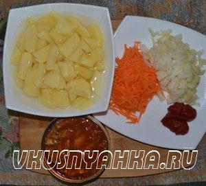 Суп из кильки в томатном соусе  в мультиварке, приготовление, шаг 1