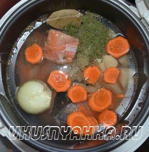 Рыбный суп из сёмги и форели в мультиварке, приготовление, шаг 2