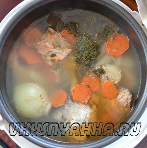 Рыбный суп из сёмги и форели в мультиварке, приготовление, шаг 3