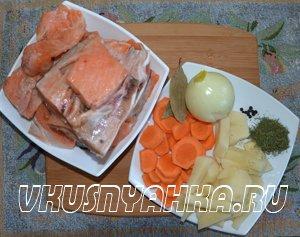 Рыбный суп из сёмги и форели в мультиварке, приготовление, шаг 1