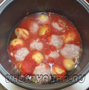 Куриные тефтели с картофелем в мультиварке, приготовление, шаг 3