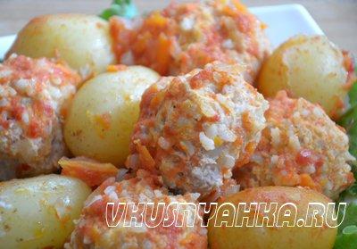 Куриные тефтели с картофелем в мультиварке, приготовление, шаг 5