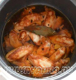 Копченные куриные крылышки в мультиварке, приготовление, шаг 4