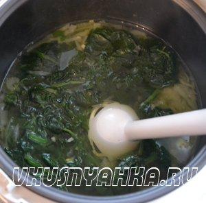 Суп- пюре из шпината с сельдереем и капустой в мультиварке, приготовление, шаг 4