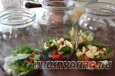 Маринованные зеленые помидоры на зиму, приготовление, шаг 2