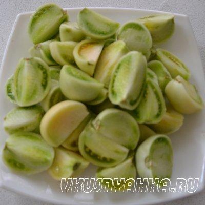 Маринованные зеленые помидоры на зиму, приготовление, шаг 4