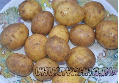 Картофель с салом в углях, приготовление, шаг 1