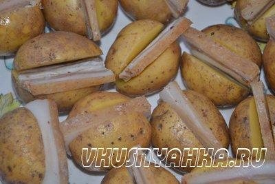 Картофель с салом в углях, приготовление, шаг 3