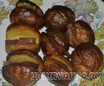 Картофель с салом в углях, приготовление, шаг 6
