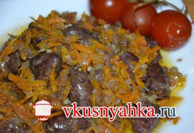 Куриные сердечки с морковью в мультиварке, приготовление, шаг 4