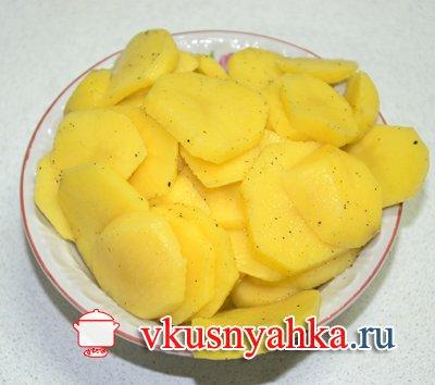 Запеканка из картофеля с рыбным фаршем в мультиварке, приготовление, шаг 3