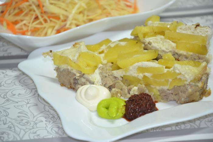 Запеканка из картофеля с рыбным фаршем в мультиварке