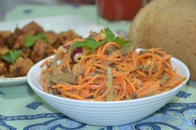 Салат с говяжьей печенью и морковью по-корейски