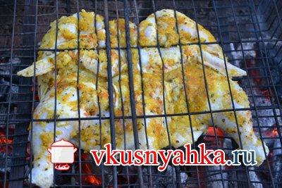 Цыпленок табака на костре на углях, приготовление, шаг 5