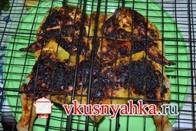 Цыпленок табака на костре на углях, приготовление, шаг 6