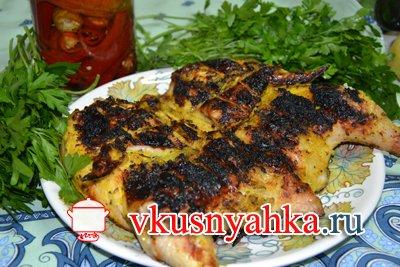 Цыпленок табака на костре на углях, приготовление, шаг 7